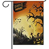 Cheap Wamika Halloween House Flags 28 x 40 Double Sided, Cat Moon Pumpkins Bats Grave Ghost Funny Scary Welcome Autumn Fall Winter Holiday Outdoor Yard Garden Flag Banner Party Home Decor