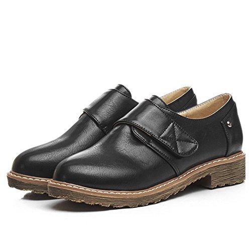 Mix Materialien Blend Klettverschlussschuhe Odomolor Frauen Low Schwarz 42 für Solide Heels UwgxItxP