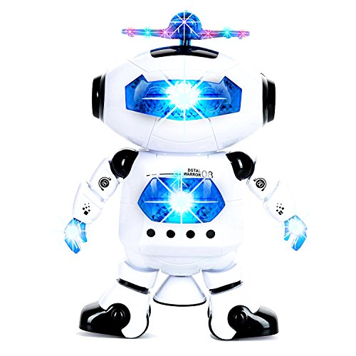 WOGO Toys Electronic Dancing and Walking Robot Toy with Colorful Flashing Lights/ Wonderful Music and 360° Swivel Function for Kids, Boys, Girls. (Kids Swivel)