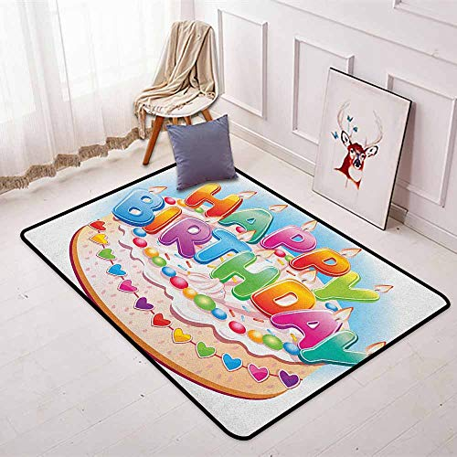 (Kids Birthday Multifunction Cartoon Style Happy Birthday Party Image Cake Candles Hearts Design Print Non-Sliding Indoor Carpet W47.2 x L63 Inch Multicolor)