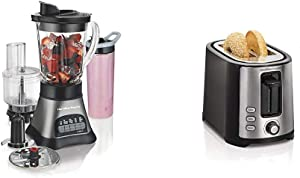 Hamilton Beach Wave Crusher Blender with 40oz Jar, Grey & Black (58163) & 2 Slice Extra Wide Slot Toaster with Shade Selector, Toast Boost, Auto Shutoff, Black (22633)