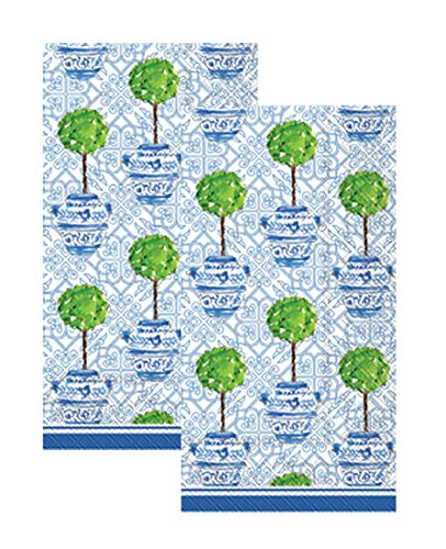 Ideal Home Range 3-Ply Paper Rosanne Beck Collections Blue Topiary, 16 Count Guest Towel Napkins Set of ()