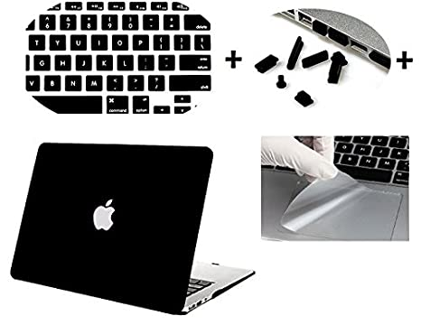 Moca' Logo Cut Hard Shell Skin Cover Case for Apple MacBook Air 13 quot; 13.3 quot; Inch A1369, A1466 with Saviour Accessories  Black  Bags   Sleeves