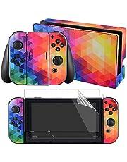 eXtremeRate Komplettes Set mit Aufklebern und 2 Displayschutzfolien für Nintendo Switch Konsole & Joy-Con Controller & Dock Protection Kit Bunt.