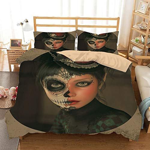 Sugar Skull Decor Khaki Duvet Cover Set King Size,Antique Portrait Girl with Calavera Inspired Makeup and Topper Realistic Decorative,Decorative 3 Piece Bedding Set with 2 Pillow Shams,Multicolor