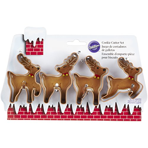 Wilton 2308-5075 4-Piece Christmas Reindeer Metal Cookie Cutter Set, Small (Rudolph Cookie)