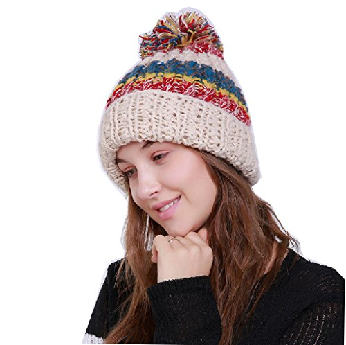 Timberlark Women Winter Fashion Knitted Hat with Stripe,Warm Pom Pom Beanie Hat (Stone Colored Cap)