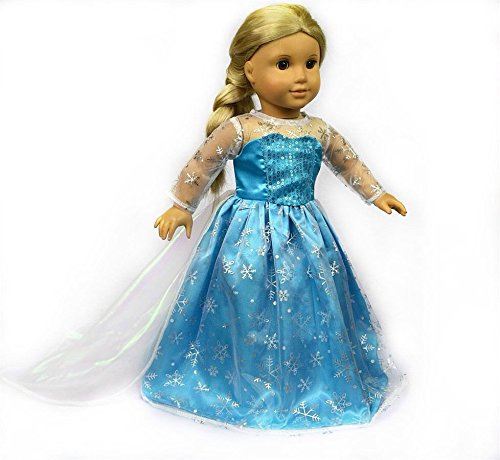Inspired Elsa Princess Costumes Outfits for 18 Inch American Girl Doll Clothes