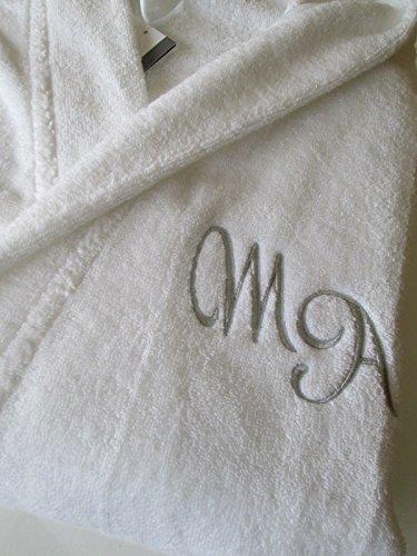 Nombre personalizado Monogram + felpa, cuello, color white albornoz, 100% algodón, Blanco, XL