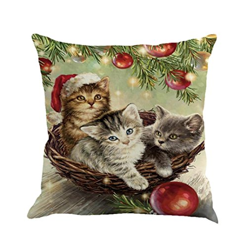 Elogoog Christmas Printing Dyeing Sofa Bed Home Decor Pillow Cover Cushion Cover 18 x18 Inches (18 x 18 Inches, Cats in the Basket_)