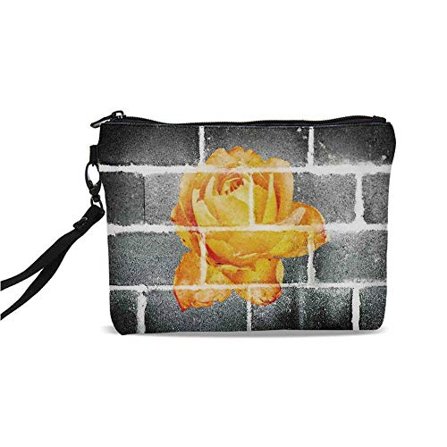 Rustic Flower Decor Simple Cosmetic Bag,Trippy Modern Graffiti with Rose Petals on Brick Wall Urban City Life for Women,9