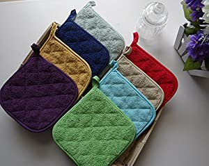 100% Cotton Kitchen Everyday Basic Terry Pot holder Heat Resistant Coaster Potholder for Cooking and Baking Set of 5
