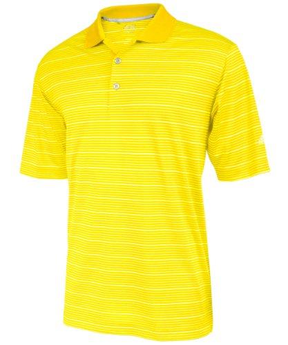 Adidas golf men 39 s climalite two color stripe polo shirt for Yellow golf polo shirts