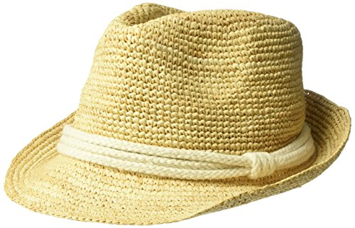 ale by Alessandra Women's Marin Crochet Raffia Fedora Sunhat Packable & Adjustable, Natural/Ivory, One Size