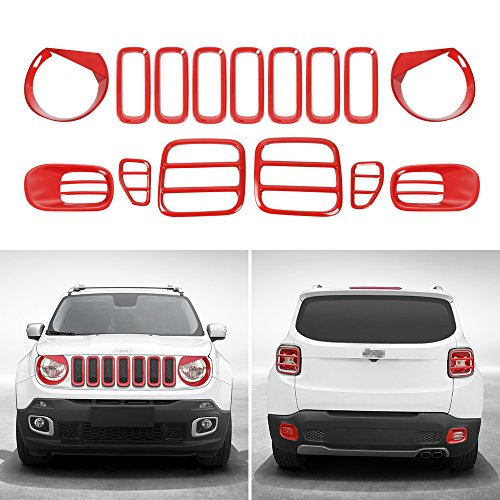 JeCar Tail light Covers & Front Grille Grill Inserts & Headlight Covers & Fog Light Trim for Jeep Renegade 2015 2016 2017(Red,15pcs)