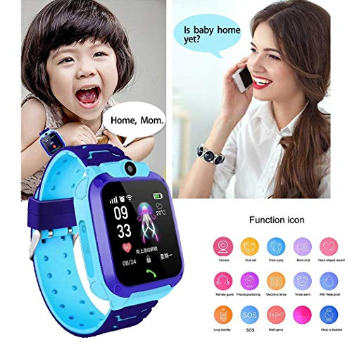 Gugio IP67 Waterproof Kids Smart Watch Phone, Kids GPS Tracker Watch with SOS Anti-Lost Alarm Sim Card Slot Touch Screen Smartwatch for 3-12 Year Old Children Girls Boys