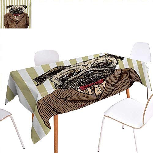 familytaste Pug Dinning Tabletop Decoration Hand Drawn Sketch of Smart Dressed Dog Jacket Shirt Bow Suit Striped Background Table Cover for Kitchen 70