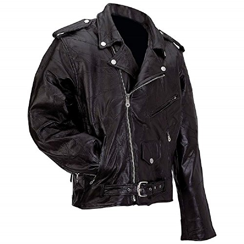 Diamond PlateTM Rock Design Genuine Buffalo Leather Motorcycle Jacket L.