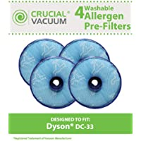 4 Replacement for Dyson DC33 Pre-Motor Filter, Compatible With Part # 919563-01, Washable & Reusable, by Think Crucial