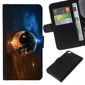 Space Planet - la tarjeta de Crédito Slots PU Funda de cuero Monedero caso cubierta de piel Para HTC Desire 820