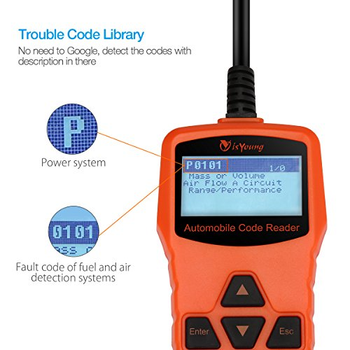 isYoung Vehicle Scan Tool OBD/EOBD CAN Diagnostic Tool 10 Modes OBDII Test + Quick Battery Health Check Engine Scanner for AUDI/VW/SKODA/BENZ/BMW/PORSCHE/GM & Other Car/SUV/Light Duty Vehicle(Orange) by isYoung (Image #4)