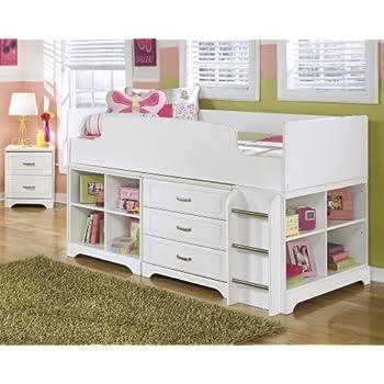 Amazon Com Lulu Soft White Twin Size Wood Loft Bed W