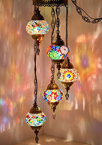 ((Choose from 12 Designs) Turkish Moroccan Mosaic Glass Chandelier Lights Hanging Ceiling Lamps (Medium - 4))