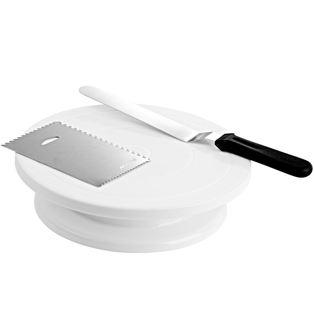"11"" Cake decorating Rotating Turntable with Icing Spatula Angled and Smoother, Cake Stand White Banking Cake Decorating Supplies (11'' WT)"