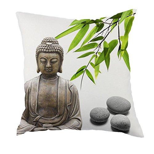 dodola Decorative Throw Pillow Covers Buddha Bamboo Cotton Linen Cushion Covers for Spa Meditation Yoga Room Decor 4Pcs by dodola (Image #3)