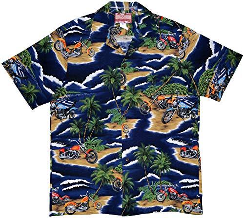 RJC 5X Big Mens Motorcycle Island Hawaiian Shirt Navy Blue (Hawaiian Motorcycle Shirt)