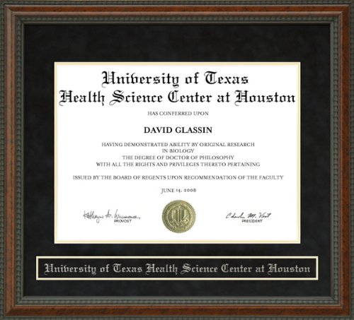 - University of Texas Health Science Center at Houston (UTHSC-H) Diploma Frame - Burl