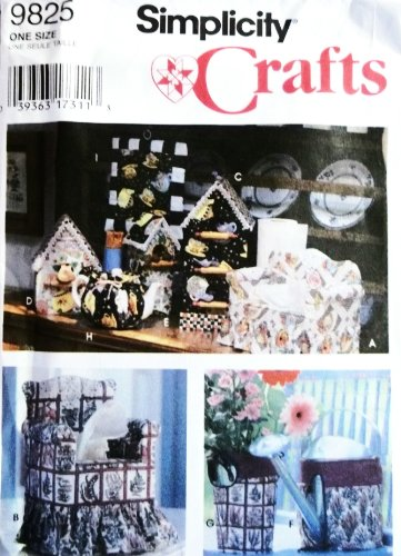 OOP Simplicity Crafts Pattern 9825. Sofa & Chair Tissue Boxx Covers; Birdhouse Covers for Paper Towel Roll, Recipe Box & Air Freshener Can, Covers for Watering Can & French Flower Vase, Tea Cozy & Pot Holder ()