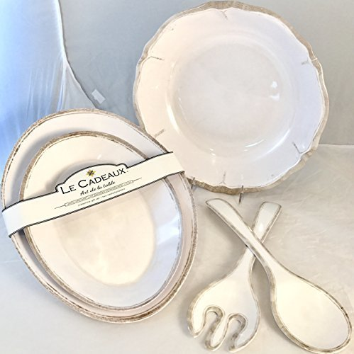 Le Cadeaux Rustica Antiqua White Five (5)-Piece Hostess Serving (Party Tray Oval Salad Bowl)