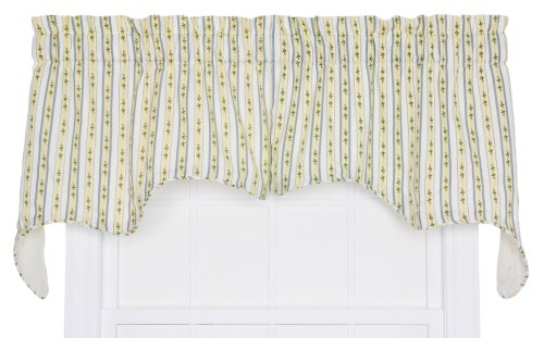 Ellis Curtain Cynthia Floral Stripe Print 2-Piece Empress Lined Swag Window Treatment Valance, 70 by 28-Inch, Blue