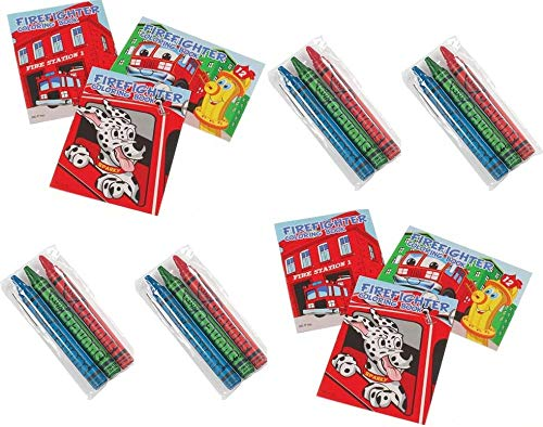 24 Pc Fireman Party Favors Lot -Includes (12) Fire Fighter Mini Coloring Books and -