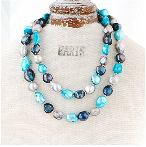 Blue Moon Freshwater Pearls (9-10mm Baroque Cultured Freshwater Pearl Necklace Strand Endless Palette Series BLUE MOON 25