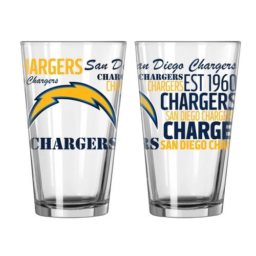 (2015 NFL Football Spirit Series Beer Pints - 16 ounce Mixing Glasses, Set of 2 (Chargers))