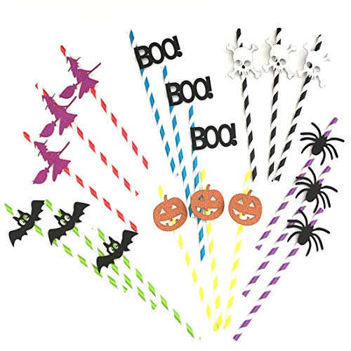 60pcs Halloween Drinking Straws Halloween Party Paper Straw Decor - Skeleton Bat Spider Pumpkin Witch BOO! Drinking Straw Disposable Straw Striped Decorative Straws for Halloween Party (6 pattern)