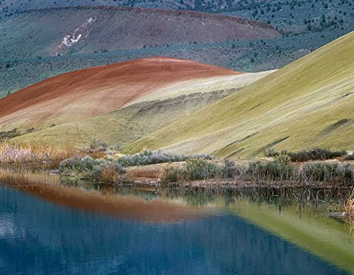 Posterazzi Poster Print Collection Painted Hills Reflected in Water John Day Fossil Beds National Monument Oregon Tim Fitzharris, (11 x 14), Multicolored (John Day Fossil Beds National Monument Oregon)
