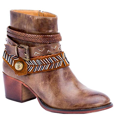 Studded Short Boot - Gc Shoes Austin Western Ankle Boots - Zip-Up Metal Studded Stacked Heel Boot (6.5 B(M) US, Brown RND)