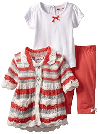 Little Lass Baby Girls' 3 Piece Sweater Set with Pink Stripes, Coral, 24 Months