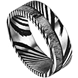 DOUX 8mm Mens Black Damascus Steel Real Antler Inlay Wedding Ring Statement Ring Flat Style10