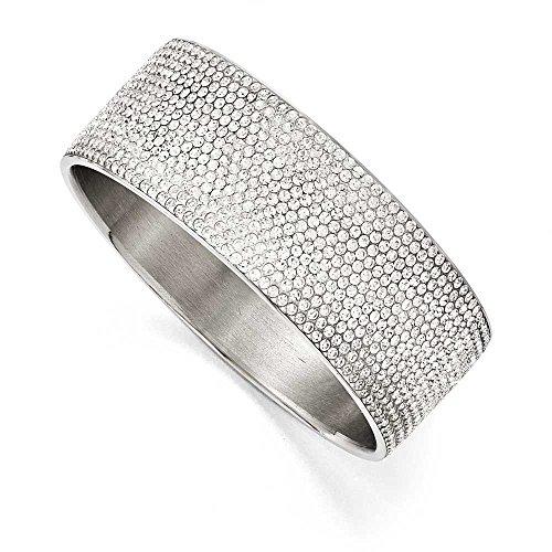 En acier inoxydable poli avec cristaux bracelet jonc Plat Large en émail blanc