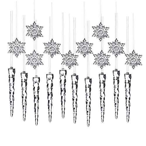 10 Pcs Icicle + 10 Pcs Snow Flower Snowflakes Clear Acrylic Christmas Ornaments Shatterproof Party Decoration Supplies