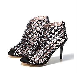 Elegant Peep Toe Crystal Beading High Heels