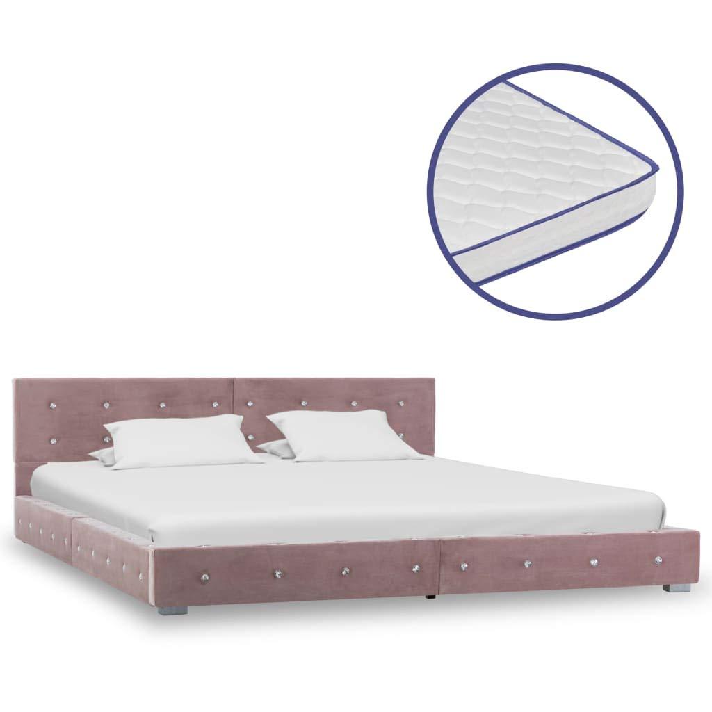 Tidyard Bett mit Memory-Schaum-Matratze Bettgestell mit Lattenrost Bettrahmen Bett Doppelbett Bett Bettrahmen Rosa Samt 180x200cm