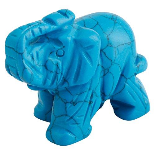 SUNYIK Blue Howlite Turuoise Elephant Pocket Carving Bookend Amulet Figurine Decor ()