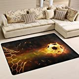 Naanle Sport Area Rug 2'x3', Fire Soccer Ball Polyester Area Rug Mat Living Dining Dorm Room Bedroom Home Decorative