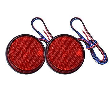 Hehemm, riflettore rotondo a LED, indicatore di stop e di frenata, fanale posteriore per auto, camion, carrello da rimorchio e motocicletta (confezione da 2) HEHEMM-111white