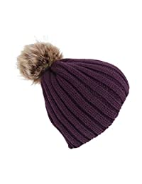 fc5e84f8495 Childrens Girls Cable Knit Faux Fur Pom Pom Winter Beanie Hat (One Size) (